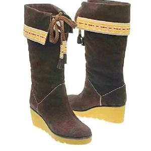 MARC JACOBS Bohemian Festival SUEDE WEDGE BOOTS 38
